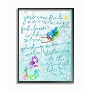 'Mermaid Life For Me' Framed Giclee Texturized Art