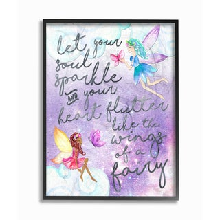 'Let Your Soul Sparkle Fairies' Framed Giclee Texturized Art
