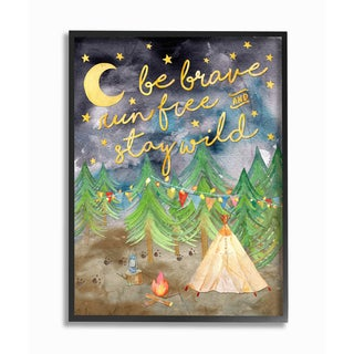 'Be Brave Camping' Framed Giclee Texturized Art - Multi