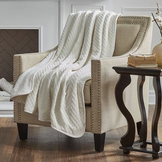 Serta Reversible Embossed Sherpa Throw