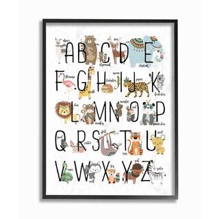 'Boho Animal ABCs' Framed Giclee Texturized Art