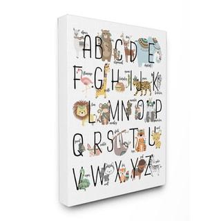 'Boho Animal ABCs' Stretched Canvas Wall Art