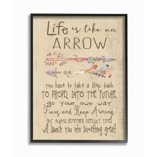 'Life is Like an Arrow' Framed Giclee Texturized Art