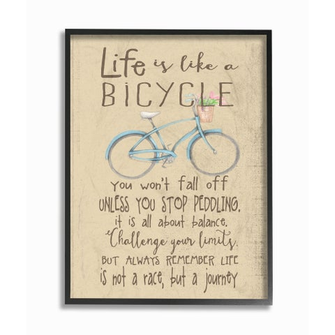 'Life is Like a Bicycle' Framed Giclee Texturized Art