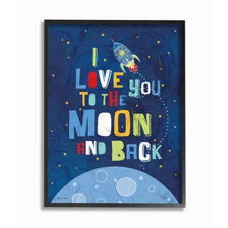 'I Love You to the Moon and Back' Framed Giclee Texturized Art