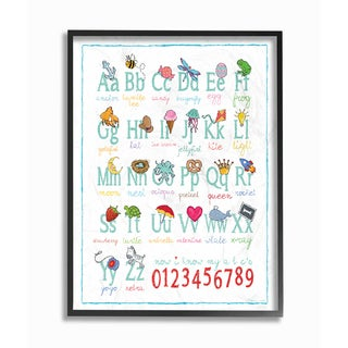 ABC 123 Songs and Icons Framed Giclee Texturized Art