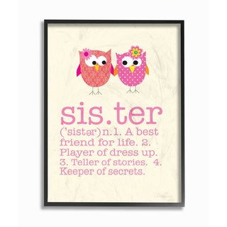 'Sister Definition Two Owls' Framed Giclee Texturized Art