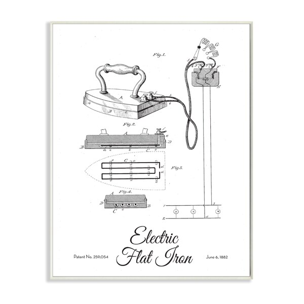 Shop Stupell \'Vintage Electric Iron Patent Drawing\' Wall Art Plaque ...