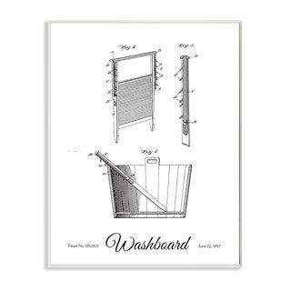 'Vintage Washboard Patent Drawing' Wall Plaque Art