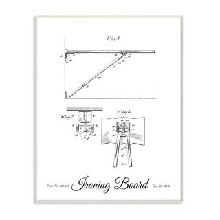 'Vintage Ironing Board Patent Drawing' Wall Plaque Art