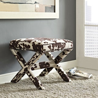 Riveted Faux Cowhide Fabric Bench