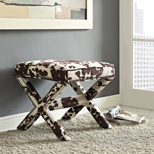 Shop Riveted Faux Cowhide Fabric Bench On Sale Free