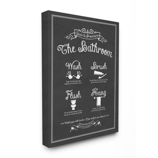'The Bathroom Guide' Stretched Canvas Wall Art