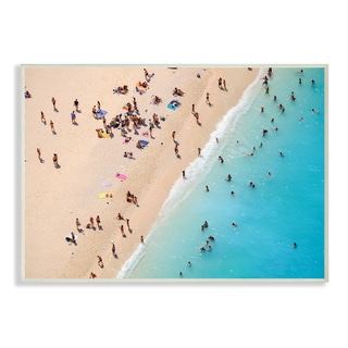 'Aerial Beach View Sunbathers' Wall Plaque Art