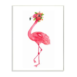 'Pink Flamingo with Flowers Facing Left' Wall Plaque Art