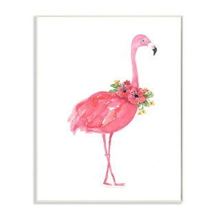 'Pink Flamingo with Flowers Facing Right' Wall Plaque Art