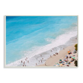 Stupell 'Aerial Beach View Rough Surf' Wall Plaque Art