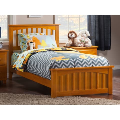 Mission Twin XL Bed with Matching Foot Board in Caramel Latte