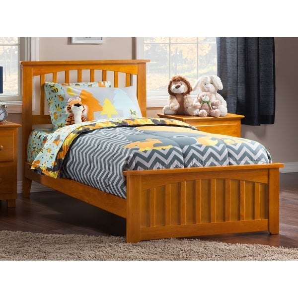 Mission Twin XL Bed with Matching Foot Board in Caramel Latte. Opens flyout.