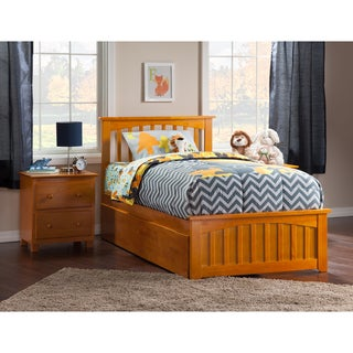 Mission Twin XL Platform Bed with Matching Foot Board with 2 Urban Bed Drawers in Caramel