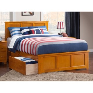Madison Full Platform Bed with Matching Foot Board with 2 Urban Bed Drawers in Caramel