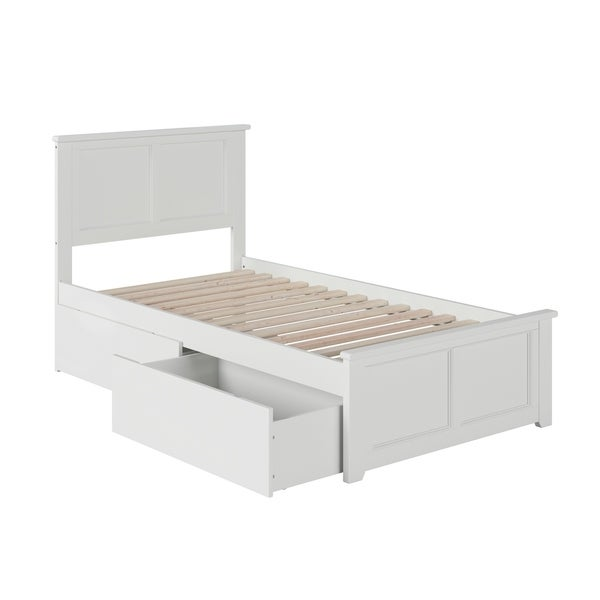 Madison Twin Platform Bed with Matching Foot Board with 2 Urban Bed Drawers in White