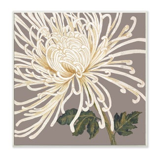 Graphic White Chrysanthemum Wall Plaque Art