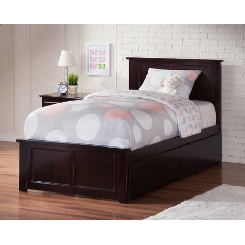 Madison Twin Platform Bed with Matching Foot Board with 2 Urban Bed Drawers in Espresso