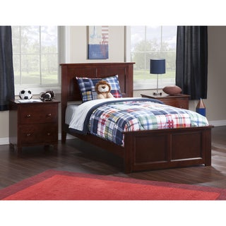 Atlantic Madison Walnut Finish Twin Bed with Matching Foot Board