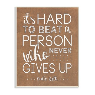 'Never Give Up - Babe Ruth' Wall Plaque Art