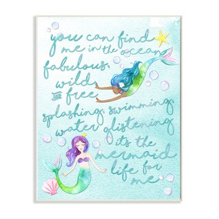 'Mermaid Life For Me' Painting Wall Plaque Art