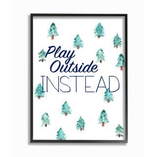 'Play Outside Instead' Framed Giclee Texturized Art - Multi