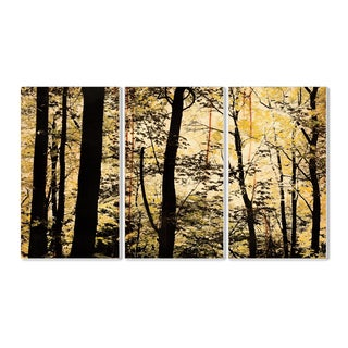 Golden Birches in the Forest Landscape Triptych Wall Plaque Art Set