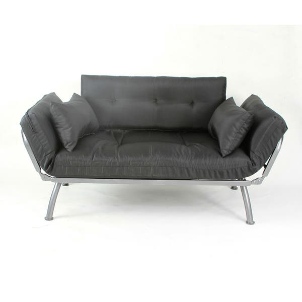Twin Size Multi Position Lounger Kelp And Stone Color Cushions With Silver Futon Frame Pillows Covered Polyester Cotton Casing Made