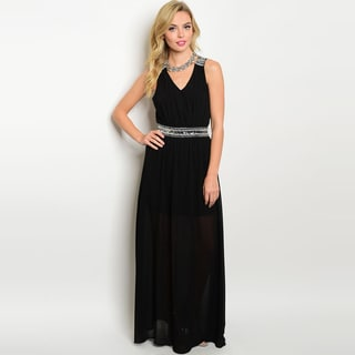 Shop The Trends Women's Sleeveless Chiffon V-neckline Beaded Fitted Waist Maxi Dress