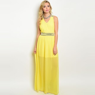 Shop The Trends Women's Sleeveless Chiffon V-neckline Beaded Fitted Waist Maxi Dress (2 options available)