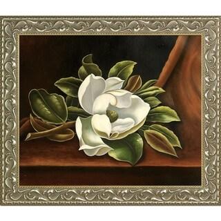 Martin Johnson Heade 'The Magnolia Blossom, 1888' Hand Painted Framed Oil Reproduction on Canvas