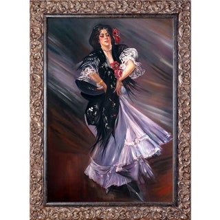 Giovanni Boldini 'Portrait of Anita de la Ferie The Spanish Dancer, 1900' Hand Painted Framed Oil Reproduction on Canvas