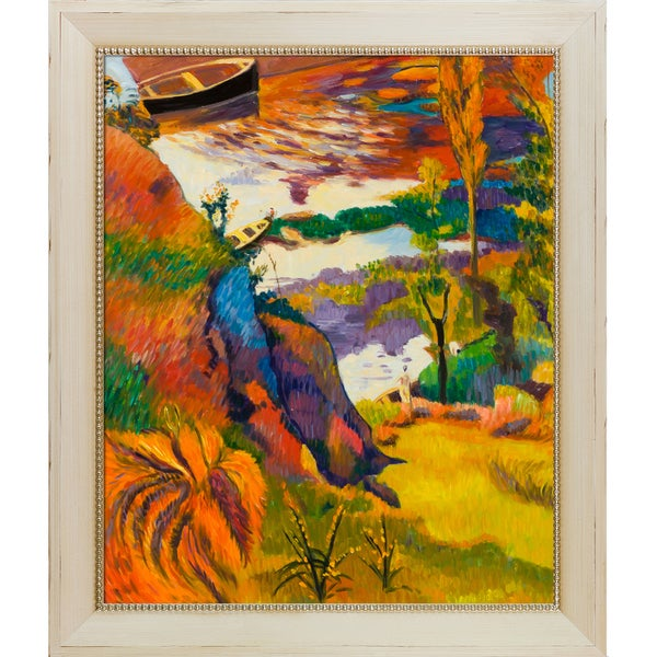 Paul Gauguin 'Fisherman and Bathers on The Aven, 1888' Hand Painted Framed Oil Reproduction on Canvas