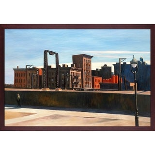 Edward Hopper 'Manhattan Bridge Loop, 1928' Hand Painted Framed Oil Reproduction on Canvas