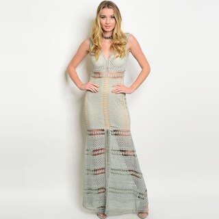 Shop The Trends Women's Sleeveless Maxi Dress with Allover Crochet Design and V-neckline