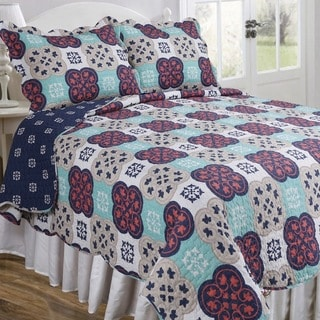 Slumber Shop Mila Coral Vintage Collection Quilt Set