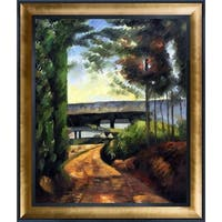 Paul Cezanne 'Road, Trees and Lake' Hand Painted Framed Oil Reproduction on Canvas