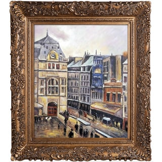 Camille Pissarro 'View of Paris, Rue d-Amsterdam' Hand Painted Framed Oil Reproduction on Canvas