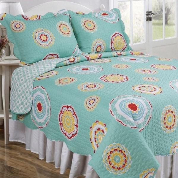 Slumber Shop Madelena Aqua Vintage Collection Quilt Set