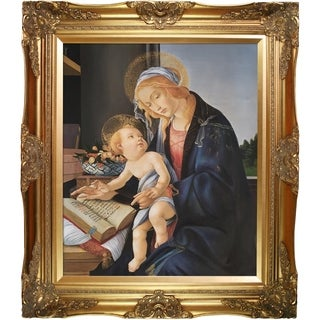 Sandro Botticelli 'Madonna of the Book' Hand Painted Framed Oil Reproduction on Canvas
