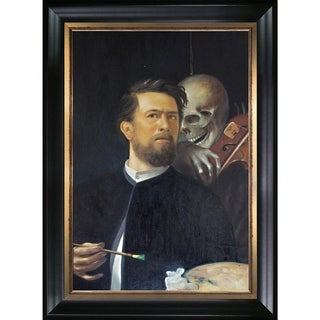 Arnold Bocklin 'Self-Portrait with Death as a Fiddler' Hand Painted Framed Oil Reproduction on Canvas