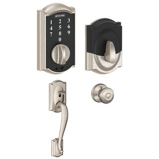 Schlage BE375CAM619 Touch Deadbolt w/ Entry Georgian Interior Knob, Satin Nickel