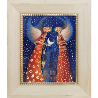 Justyna Kopania 'Angels II' Hand Painted Framed Oil Reproduction on Canvas