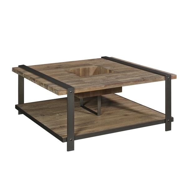 rustic square coffee table Shop Lambert Industrial Rustic Square Coffee Table   Free Shipping  rustic square coffee table
